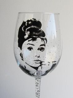 Hey, I found this really awesome Etsy listing at https://www.etsy.com/listing/108921817/hand-painted-wine-glass-audrey-hepburn