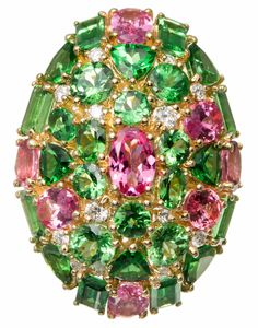 Tsavorite Garnet Pink Spinel Diamond Gold Cocktail Ring | From a unique collection of vintage cocktail rings at https://www.1stdibs.com/jewelry/rings/cocktail-rings/