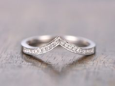 14K White Gold V Wedding Band Chevron Wedding Band,V Wedding Band,Curved Wedding Ring Micro Pave Diamond Ring V Ring by kilarjewelry on Etsy https://www.etsy.com/listing/270295686/14k-white-gold-v-wedding-band-chevron
