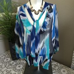 Ombré Sheer Blouse Scrunched at the bottom has a tie at the top Alfani Tops Blouses