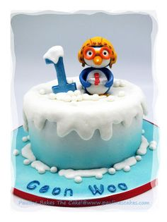 """Geon Woo's Pororo Cake : """"Snow Time With The Little Penguin"""" Pingu Cake, Royal Icing Decorations, Fondant Cakes, Food Design, First Birthdays, Cake Decorating, Birthday Cake, Arctic, Penguin"""