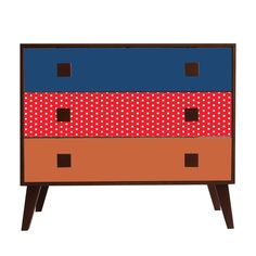 Grande commode à 3 tiroirs - Imprimé Color Pois - Print Fifties - Louise - Les commodes - Commodes, chiffonniers et coiffeuses - Tous les meubles - Décoration d'intérieur - Alinéa