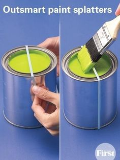 Use a rubber band to wipe excess paint on instead of the rim.   Never heard of this. What an excellent and clever idea. ❤