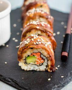 17 Vegan Sushi Recipes You Should Try Making Yourself - Morgan Boulevard Seafood Recipes, Vegetarian Recipes, Healthy Recipes, Vegan Eggplant Recipes, Healthy Sushi, Appetizer Recipes, Vegan Sushi Rolls, Cooked Sushi Rolls, Making Sushi Rolls