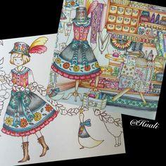 マダムモリーの洋品店で塗り塗りした民族衣装を別ページのエレナとジョゼに同じように塗ってみました。 お似合い❤️ と思う。。。 エレナさんの帽子のフリルがない〜。…