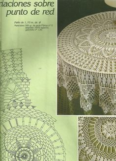Мобильный LiveInternet Журнал «Muestras y Motivos Especial Panos 1 Crochet Table Topper, Crochet Tablecloth Pattern, Free Crochet Doily Patterns, Crochet Doily Diagram, Crochet Chart, Thread Crochet, Filet Crochet, Crochet Motif, Crochet Round