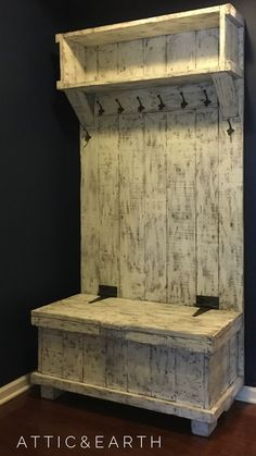 This hall tree is a custom piece and will be built to fit your space. The hall tree shown is 43 wide by 81 tall and has a painted distressed finish. Woodworking Furniture Plans, Diy Pallet Furniture, Easy Woodworking Projects, Popular Woodworking, Diy Wood Projects, Rustic Furniture, Furniture Ideas, Furniture Online, Youtube Woodworking