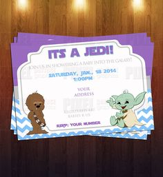 Jedi Star Wars Themed Baby Shower Invite By PixelPerfectGraphics, $12.00