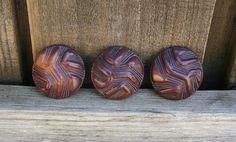 3 Vintage Purple & Tan Lucite Shank Buttons #vintagebuttons #buttonitupvintage