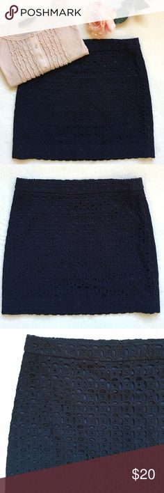 """{J. Crew} Navy Eyelet Mini Skirt Beautiful detail in this navy blue eyelet mini skirt. Back zipper with hook and eye closure. Waist 16"""" flat across. 16 1/2"""" long. 100% cotton. Lining is 97% cotton 3% spandex. Excellent preloved condition. J. Crew Skirts Mini"""