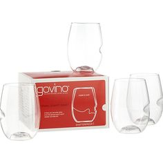 set of 4 govino stemless wine glasses   CB2