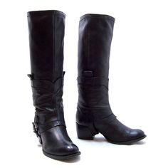 id Browns Black Leather Tall Knee High Moto Style Boots Size 8 made in Italy #Browns #Motorcycle #Casual