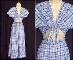 Vintage 1940s Crop Pants and Top Blue White by MyPrettyLittleHat, $45.00