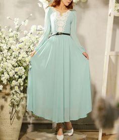 Vintage blue chiffon long sleeve dress maxi dress/evening dress/travel dress/wedding dress/tunic dress/long beach dress party dress - D077