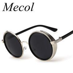 Fashion Metal Frame Gothic Steampunk Sunglasses Women Unique Men Round Coating Sun Glasses Vintage lunettes de soleil homme 185M #jewelry, #women, #men, #hats, #watches, #belts, #fashion