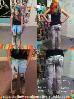 I NEED THIS!!!! Pierce the veil collide with the sky band merch pants.