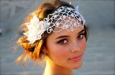 Vintage Inspired Crystal Bridal Head Cap Juliet von DolorisPetunia
