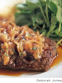 Skirt Steak with Caramelized Shallots and Red Wine Jus Recipe from Thomas Keller.  Main Course.  Dinner.  Chef.