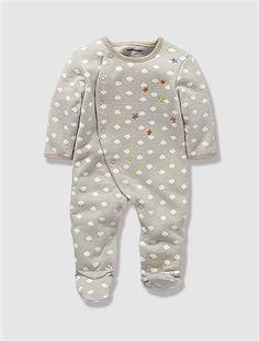 Pyjama bébé molleton brodé nouveau né dès 45cm GRIS CLAIR IMPRIME - vertbaudet enfant