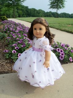 Tossed Violets- Mid Gown/ Clothes for American Girl Marie Grace, Cecile or Caroline Doll Clothes Barbie, Doll Dresses, Doll Clothes Patterns, Girls Dresses, My American Girl Doll, American Doll Clothes, Girl Inspiration, Green Fabric, Doll Accessories