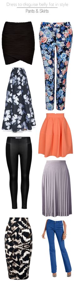 how to dress to disguise belly fat in style - pants and skirt