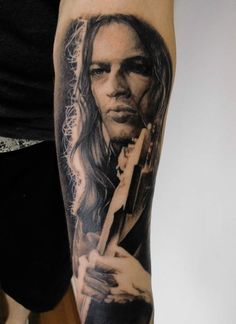 David Gilmour portrait tattoo - Pink Floyd artwork ink