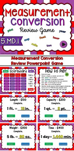 Engage students with this fun, interactive math game. Students compete against one another as they practice measurement conversion. Students must convert different measurements including length, weight, capacity, and time.