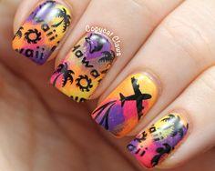 Copycat Claws: Hawaii Nail Art & Zoya Arizona Swatch Aloha Nails, Hawaii Nails, Tropical Nail Art, Vacation Nails, Stamping Nail Art, Best Acrylic Nails, Beautiful Nail Art, Pretty Nails, Nail Art Designs