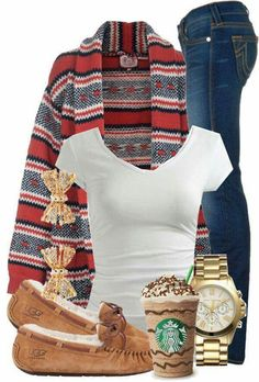 Like the idea of this casual outfit - jeans, T, cardigan, comfy shoes