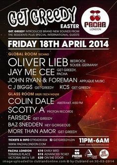 PACHA PRIVE - Get Greedy - Easter Special 18.04.2014 | Pacha (London)