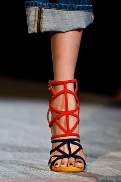 Dsquared² at Milan Spring 2015 (Details) GEOMETRIC 2 TONE COLOR SANDAL