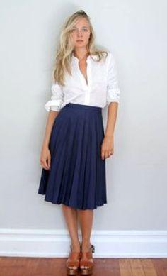 navy full skirt, white cotton blouse