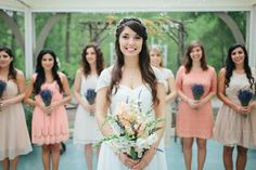 bridal bouquet accented with lavender & bridesmaids' bouquet of all lavender