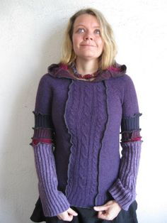 HOODIE upcycled purple stripes by katwise on Etsy