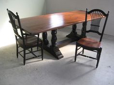 Reclaimed Wood Table With Double Column Trestle   Farmhouse   Dining Tables    Boston   By