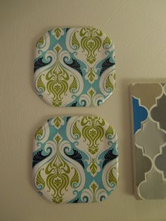 Waverly paper plates hung as artwork