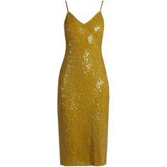 Diane Von Furstenberg Havita dress ($920) ❤ liked on Polyvore featuring dresses, gold, yellow cocktail dress, cocktail dresses, evening cocktail dresses, golden yellow dress and sequin cocktail dresses