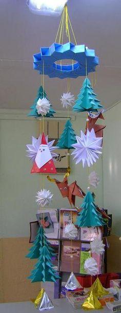Christmas craft ideas: origami Christmas tree, Christmas wearth, Santa, reindeer...