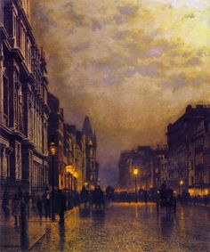 London, Piccadilly at Night - John Atkinson Grimshaw 1885-86.  British 1836-1893.  Cozyhuarique
