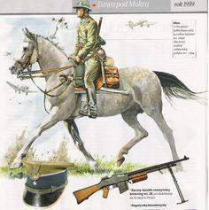 Ułan z bitwy pod Mokrą - hełm francuski, karabin Mauser wz. 1898 (Radom), szabla żołnierska polska wz. 1934