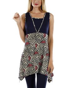 Another great find on #zulily! Blue & White Geometric Sidetail Tunic #zulilyfinds