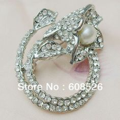Rose Flower Outline | Pearl Bling Jewelry Pave Clear Crystal Outline Flower Brooch Rose Pin ...