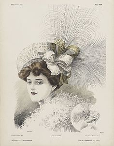 May 1908 French Millinery Print, 'Borocco' Victorian Hats, Victorian Fashion, Vintage Fashion, Vintage Pictures, Vintage Images, Decoupage, Image Paper, Fashion Plates, Fashion History