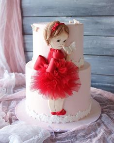 New birthday party cake ballerina Ideas Crazy Cakes, Fancy Cakes, Cute Cakes, Pretty Cakes, Baby Birthday Cakes, Baby Girl Cakes, Baby Doll Cake, Doll Cakes, Birthday Parties