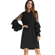 Style: Casual :    Material: Polyester :    Silhouette: Shift :    Dresses Length: Mini :    Neckline: Crew Neck :    Sleeve Type: Flare Sleeve :    Sleeve Length: Long Sleeves :    Pattern Type: Patchwork :    With Belt: No :    Season: Fall/Spring :    Weight: 0.393 kg :    Package Contents: 1 x Dress :    Occasion: Casual :