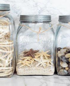 Make a memory jar with the shells and rocks they collected on the beach or on a hike. Coastal Style, Coastal Decor, Seaside Decor, Coastal Living, Coastal Cottage, Uses For Mason Jars, Deco Marine, Diy Inspiration, Vacation Memories