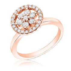 Flower Diamond ½ct. Halo Ring in 14k Rose Gold