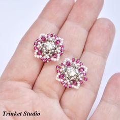 #TrinketStudio, #beading, #Swarovski, #earrings