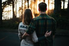 Watching the sunset love couples outdoors sun trees autumn