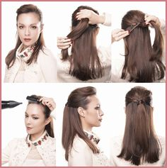 Hair styling with a side part.